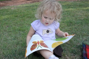 Checking out a book on leaves